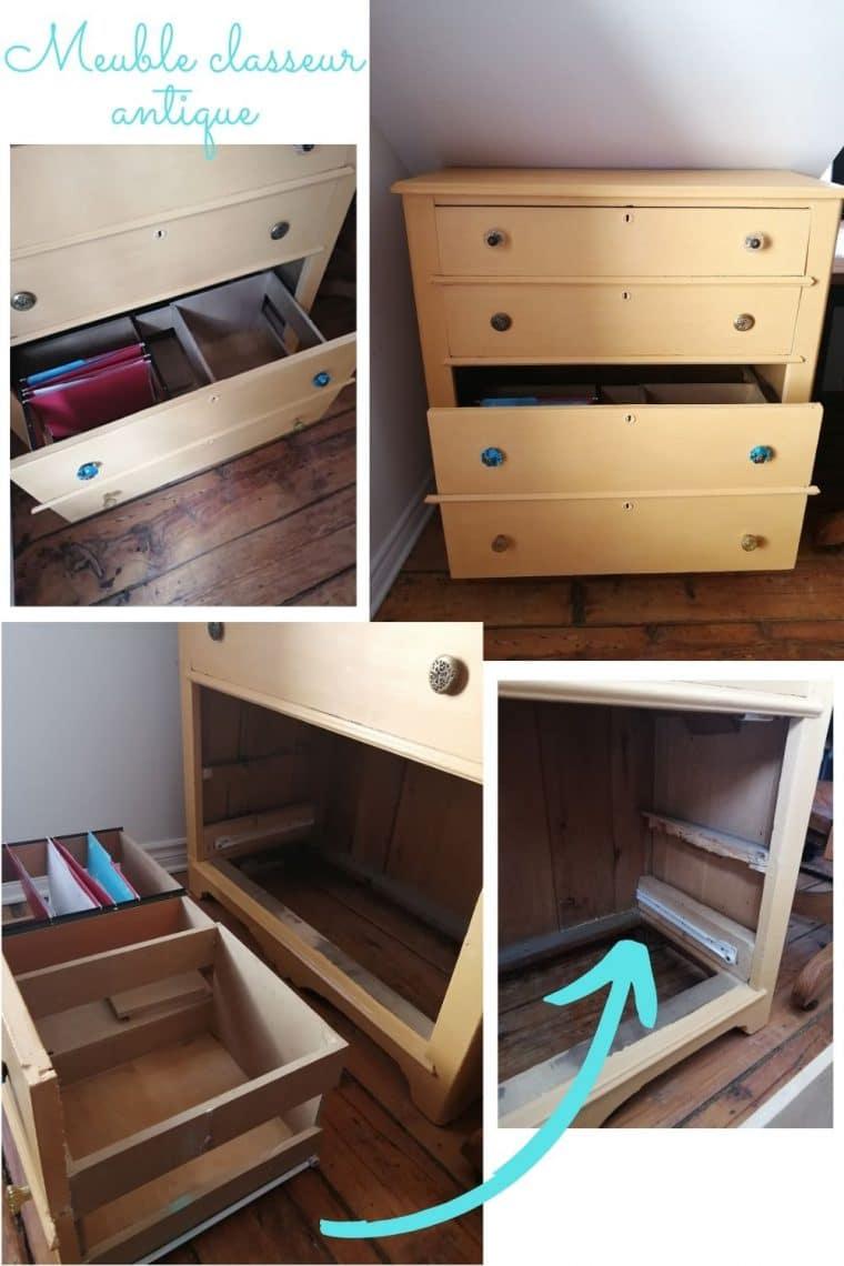 Créer un classeur de bureau avec une vieille commode antique