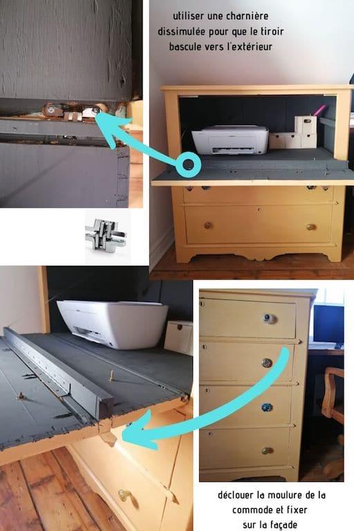 Fabrication d'un meuble imprimante à partir d'une commode