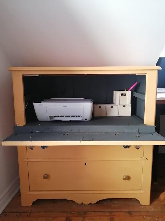transformer une vieille commode en meuble imprimante