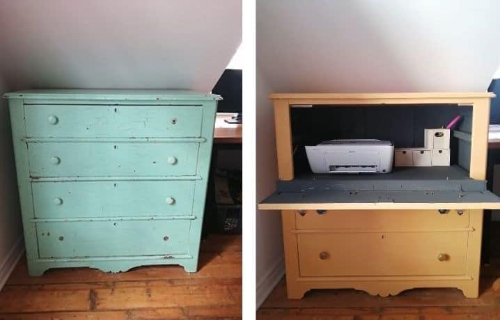 avant après meuble ancien transformé en meuble imprimante