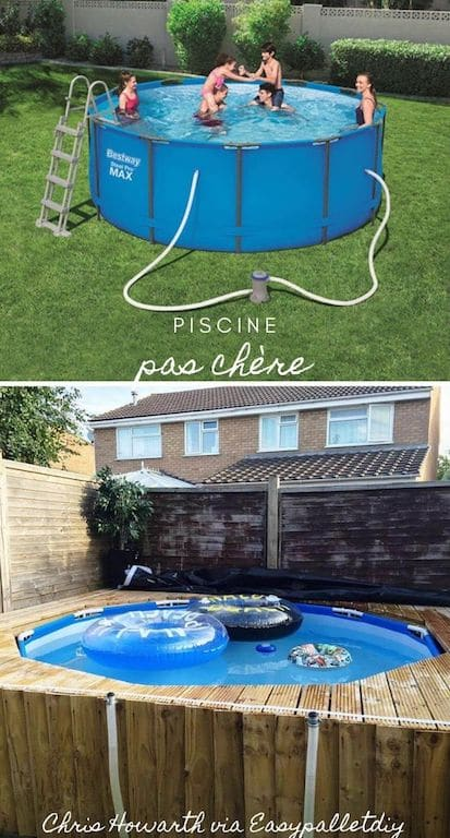 cacher mini piscine tubulaire pas chère dans un patio