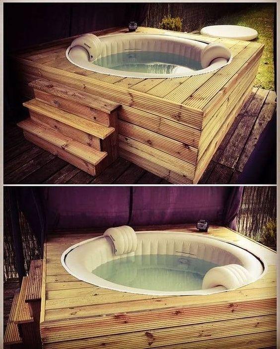 intégrer spa gonflable dans plateforme en bois / how to hide an inflatable spa