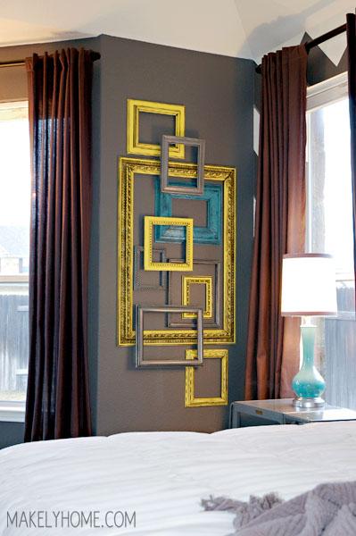 cadres vides superposés pour un effet 3D au mur