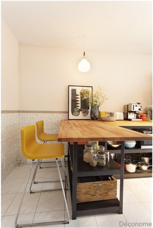 îlot de cuisine pas cher fait avec un îlot BROR IKEA