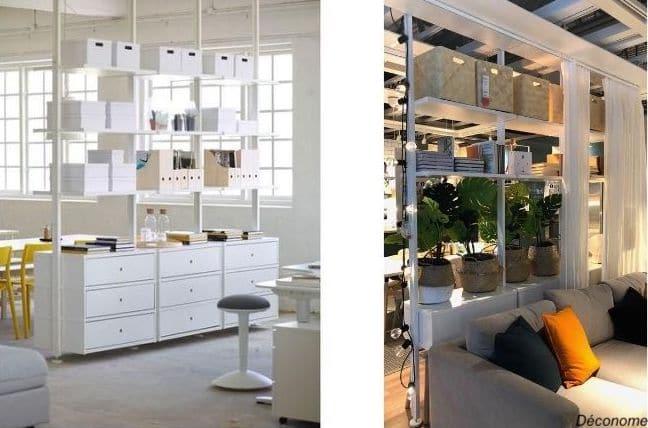 collection ELVARLI de IKEA pour séparer son bureau dans le salon