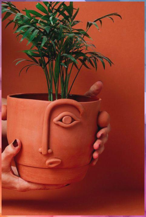 Vase terracotta forme visage avec pate FIMO