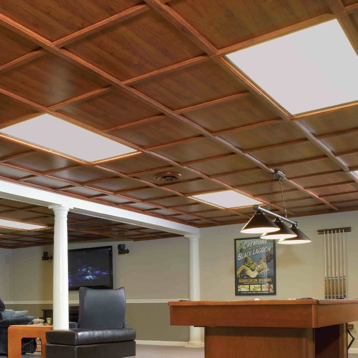plafond suspendu style bois