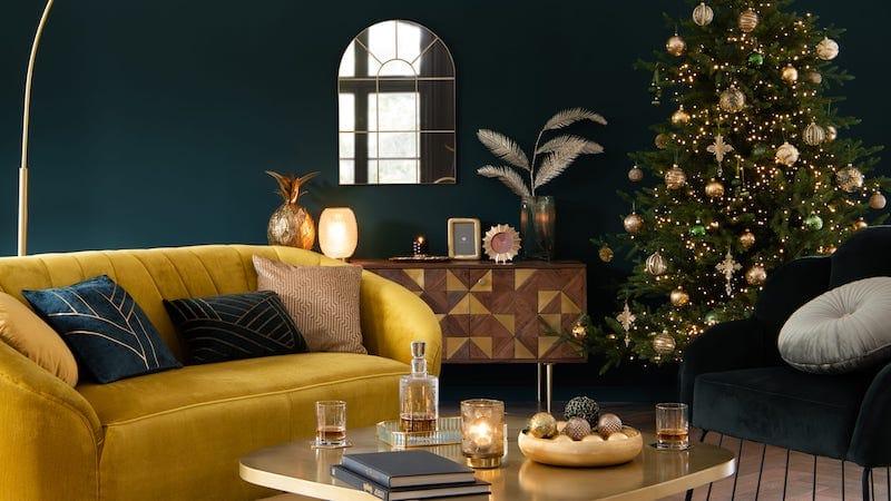 tendance déco Noël chic or et bleu