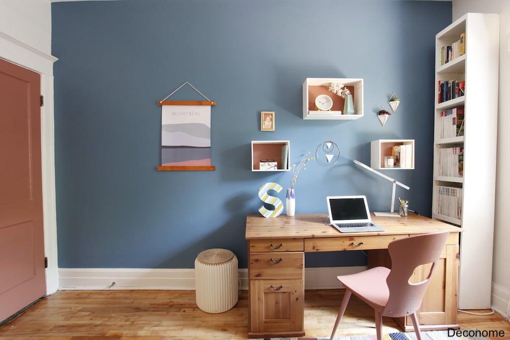 bureau mur bleu