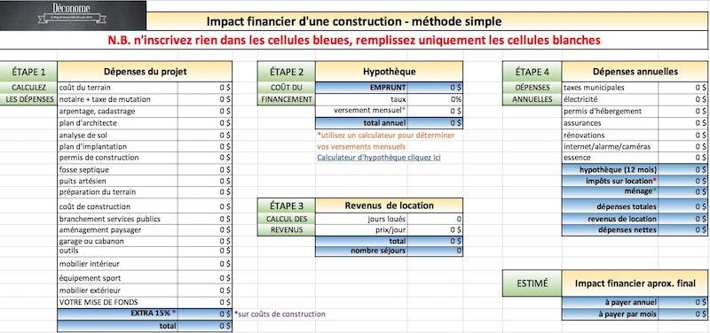 calculateur de cout de construction de maison ou chalet