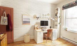 papier peint brique blanche dans bureau