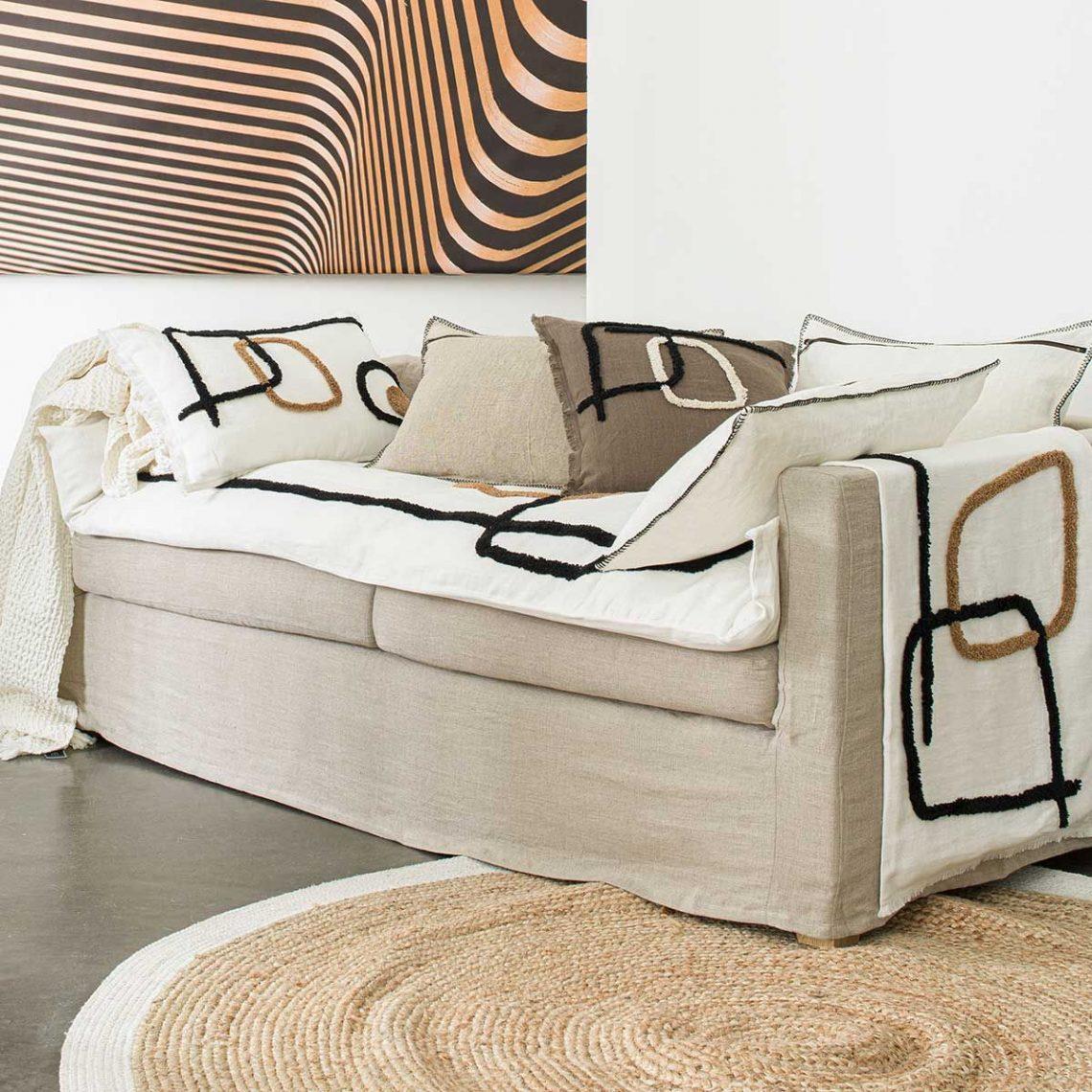 sofa cover ethnique- housse d'édredon de canapé en lin