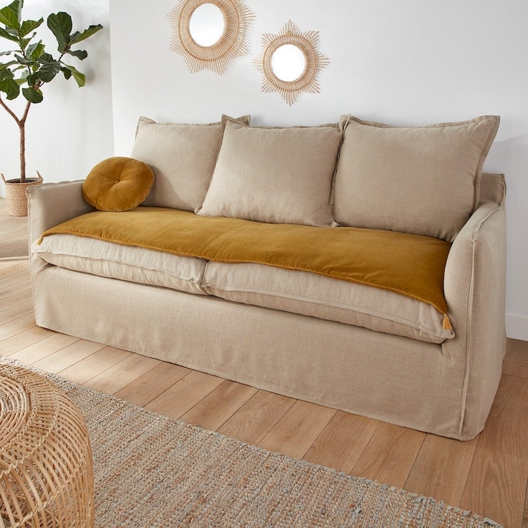 sofa cover en velours jaune La Redoute