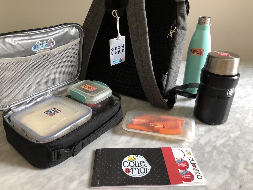 etiquettes collantes identification boites à lunch école