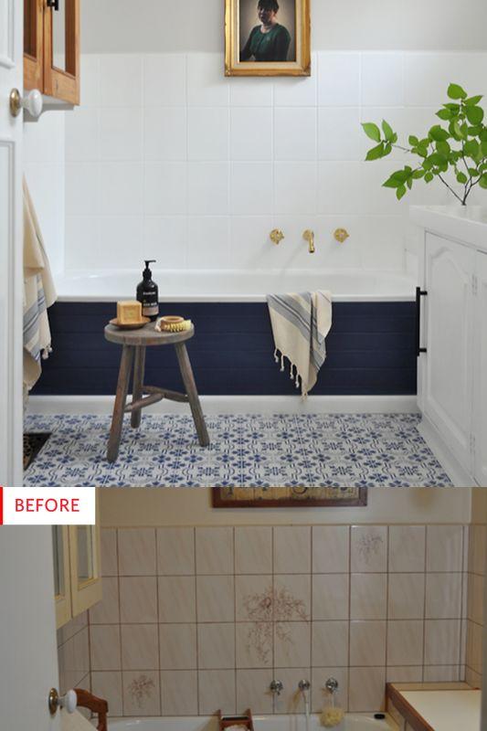 avant après peinture de carrelage salle de bain et pose de vinyle au sol