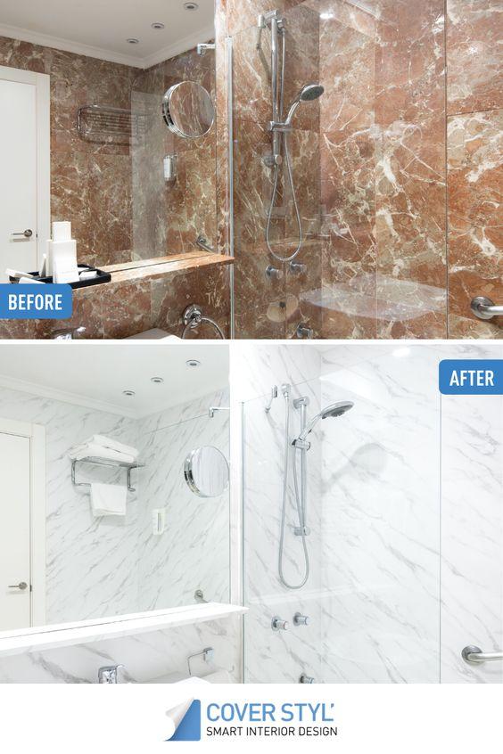 Pose de vinyle CoverStyl sur murs de douche et salle de bain