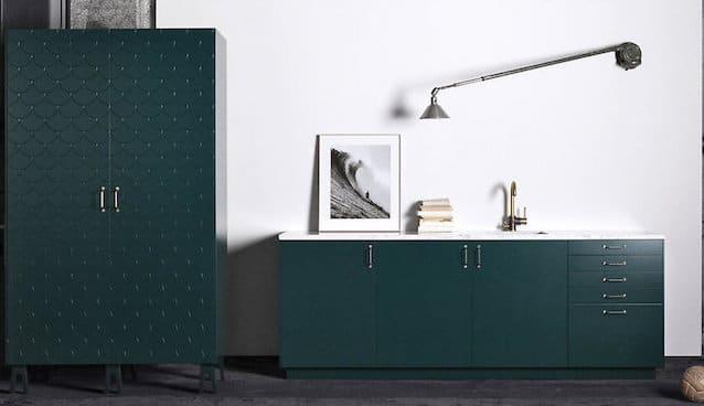 personnaliser meubles IKEA- Superfront cuisine vert émeraude