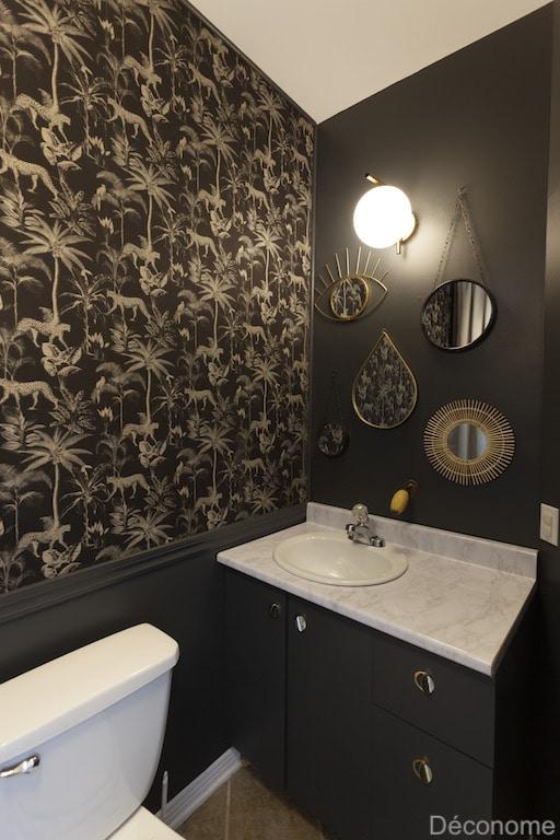 salle d'eau papier peint panoramique noir