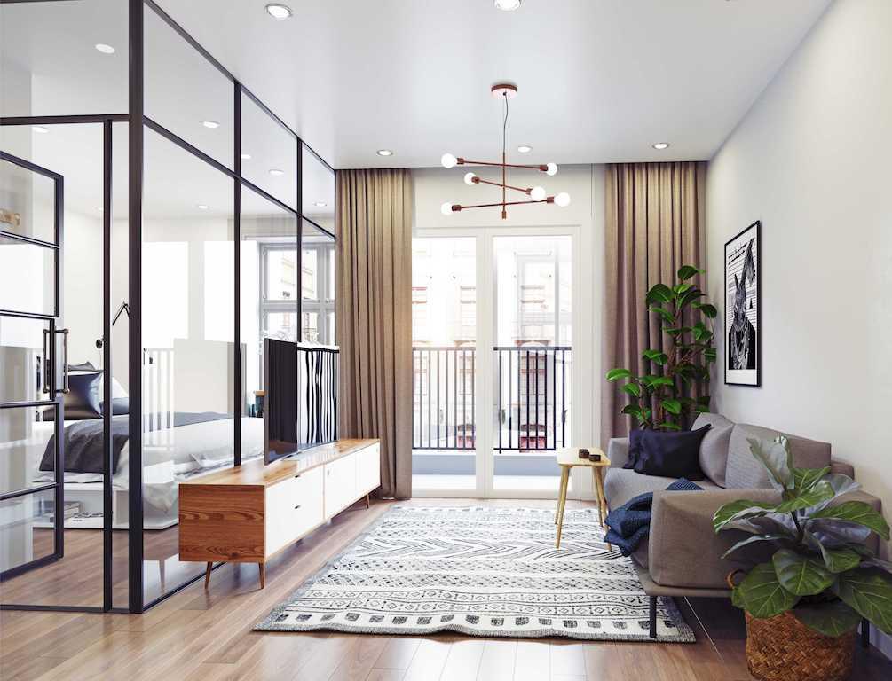 mur séparateur vitré entre une chambre et un salon style verrière noire